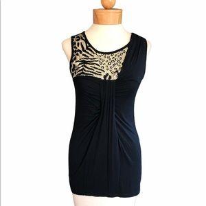 Kische sleeveless sequin top gold black leopard S